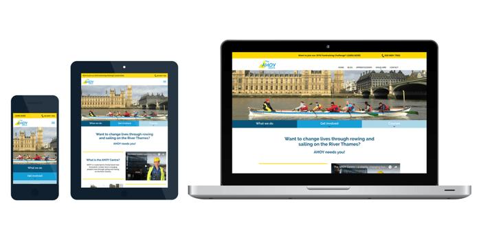 AHOY centre website across 3 devices