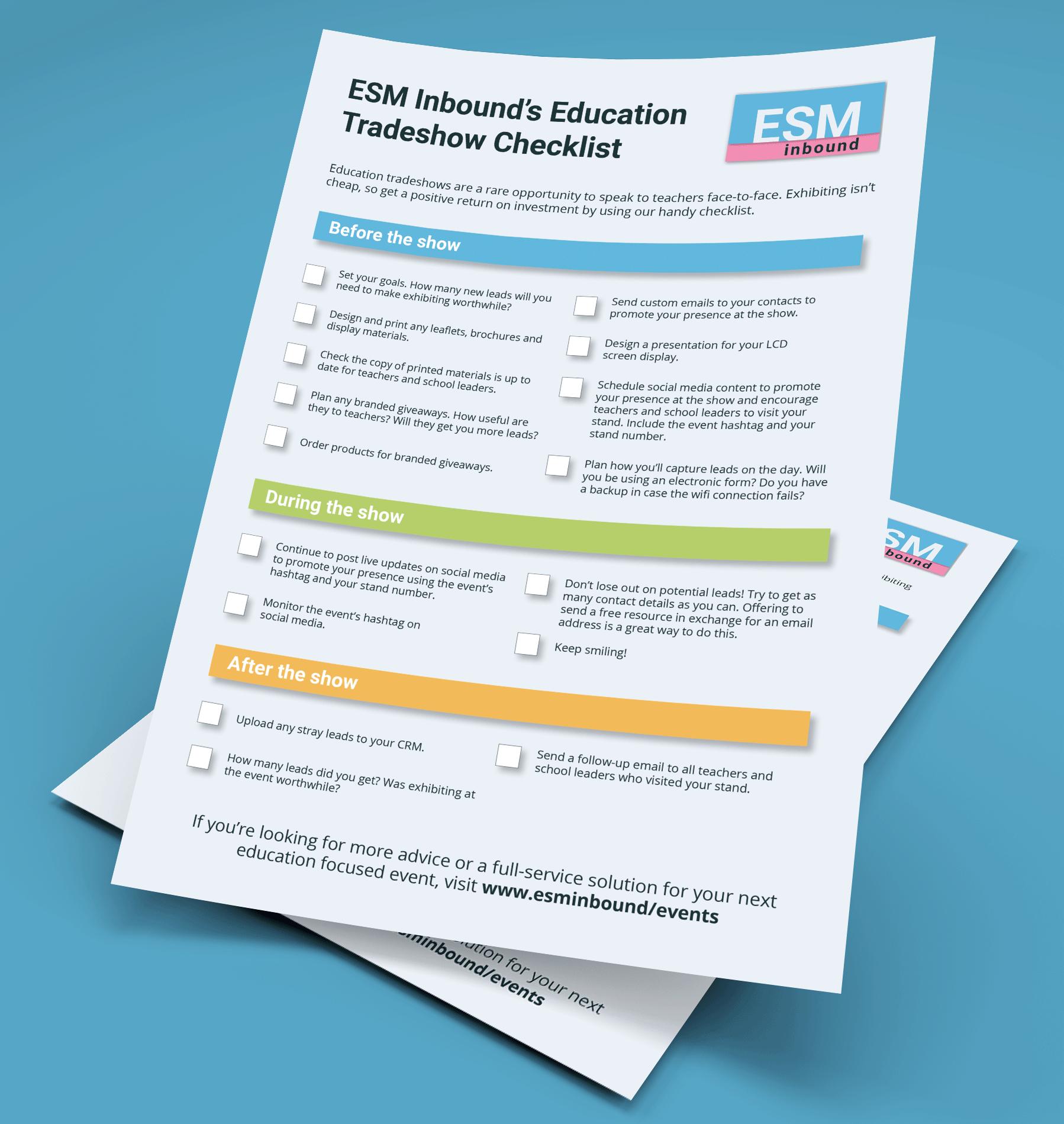 ESM Inbound's Education Tradeshow Checklist