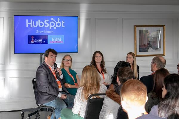 John Kelleher and Lucy Seymour talk at Grow with HubSpot