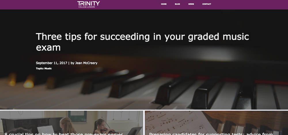 Trinity College London blog templates