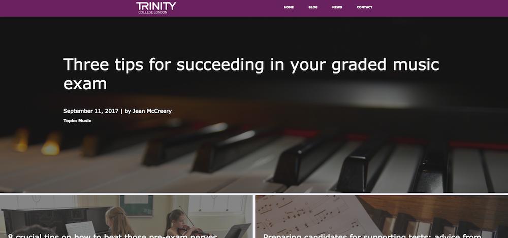Trinity College London blog templates