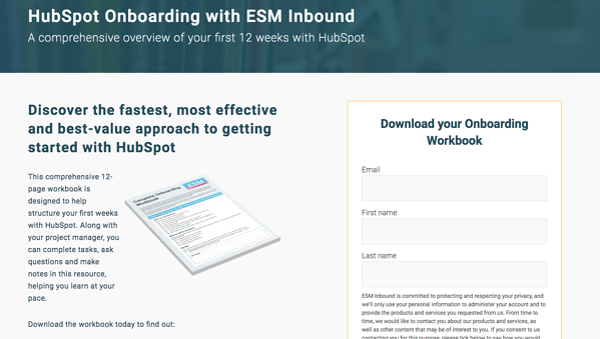 ESM Inbound landing page example