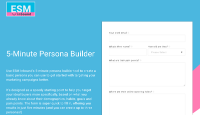 Buyer persona tool by ESM Inbound