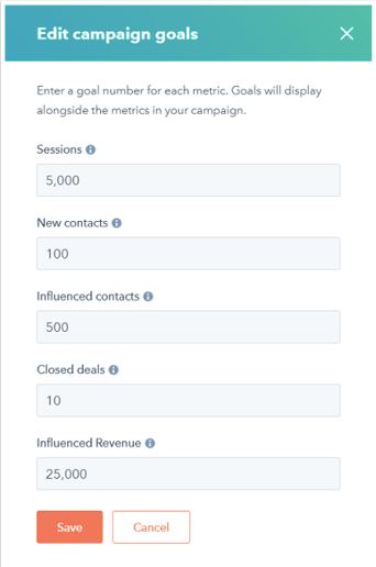 Edit campaign goals in HubSpot