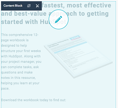 Edit content blocks in HubSpot