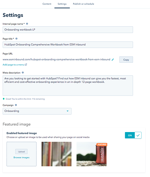 Settings for landing page in HubSpot