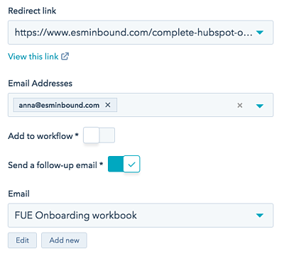 How to redirect and send follow-up emails in HubSpot