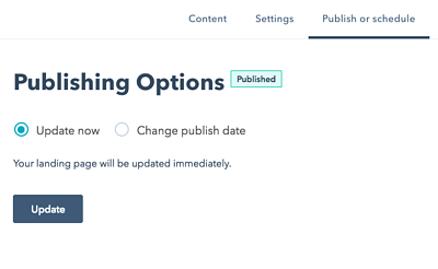 How to schedule or publish your landing page