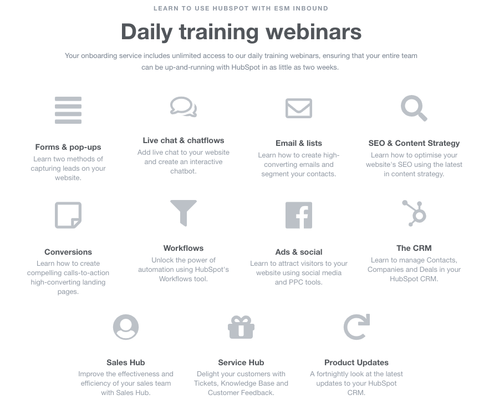 Daily training webinars ESM Inbound