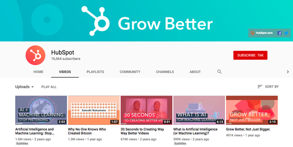 HubSpot YouTube channel