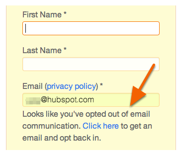 form opt-in resubscription error message