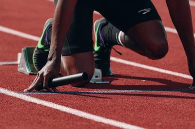 Runner ready to start a race