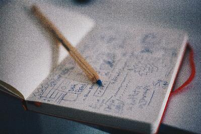 A notebook and pen with pans drawn out