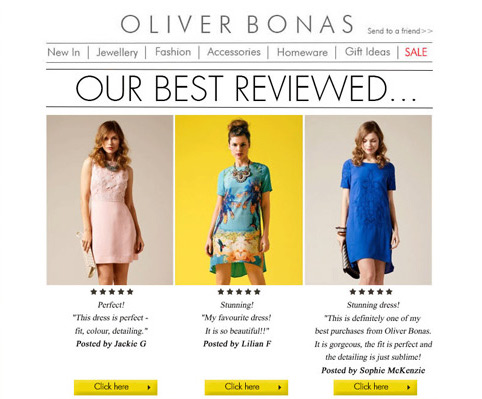 Using customer reviews in email newsletter
