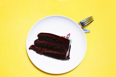 chocolate cake on a plate with yellow background