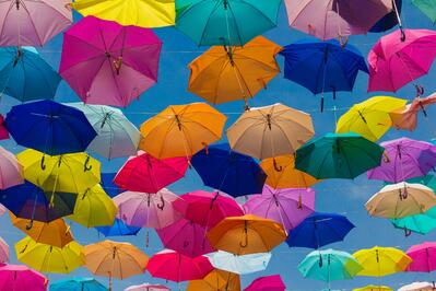 Choice of umbrellas in lots of colours